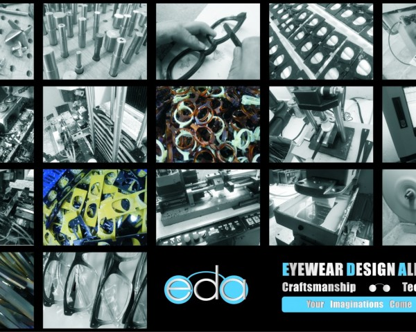 eyeglass manufacturing images in a grid